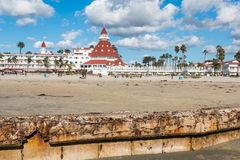 Digue sur la plage centrale de Coronado en Californie du sud Images libres de droits