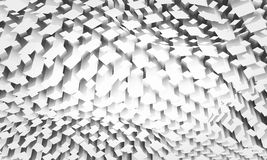 Diigital background with chaotic square pattern. Abstract monochrome digital background with chaotic square pattern on a curved surface, 3d illustration vector illustration