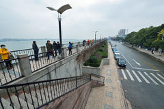 Dijk in Anqing, China Royalty-vrije Stock Afbeeldingen