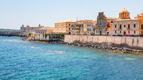 Dijk in de stad van Syracuse in Sicilië Royalty-vrije Stock Foto's