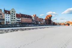 Dijk in Gdans in de wintertijd Royalty-vrije Stock Fotografie