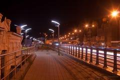 Dijk van de Dnieper-Rivier in de avond Kiev, de Oekraïne Stock Foto