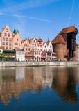 Dijk van Motlawa rivier, Gdansk Stock Foto's