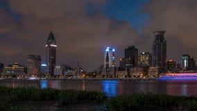 Dijk van Shanghai in nacht royalty-vrije stock foto