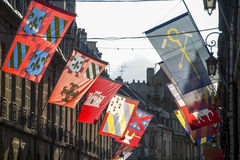 Dijon - Gebouwen en vlaggen Stock Fotografie
