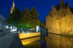 Dijver canal at night (Bruges) Royalty Free Stock Photo