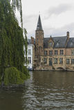 Dijver Canal with weeping willow tree, Bruges Stock Photo