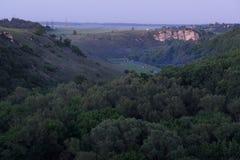 Dik groen bos met verre rotsen in de zomerzonsondergang Royalty-vrije Stock Fotografie