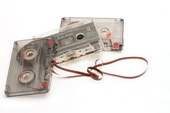 DIKANKA, UKRAINE - NOVEMBER 26, 2015: Film tape cassettes used for recording and playback of music. Royalty Free Stock Images