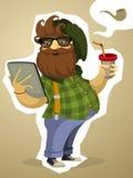 Dikbuikige gebaarde hipster met de tablet en de drank Stock Afbeelding
