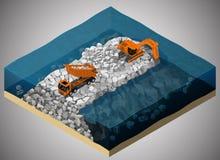 The dike construction process. Stock Photos