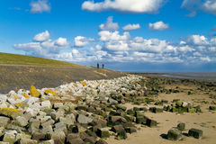 Dike at ebb tide. A on the Dutch island Terschelling at ebb tide, two cyclists in the distance Royalty Free Stock Photos