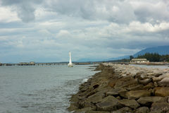 The dike in morning time Royalty Free Stock Photo