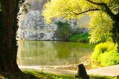 Dike och stadsvägg i Maastricht, Holland royaltyfri bild