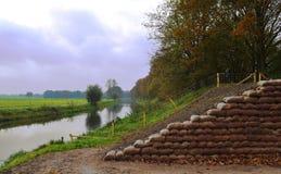 Dike reinforcement. Flood precaution Netherlands Stock Image