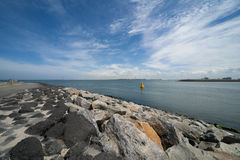 Dike and sea water Royalty Free Stock Images