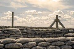 Diken av sandsäckar för världskrig ett i Belgien Arkivfoto