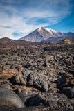 Dikke lavastromen die de hellingen van Tolbachik-Vulkaan na de uitbarsting van 2013 behandelen Royalty-vrije Stock Afbeeldingen