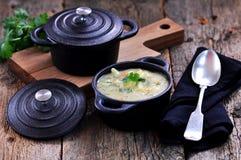 Dikke soep van graangrutten met aardappels, wortelen, knoflook, dille en koriander Royalty-vrije Stock Afbeelding