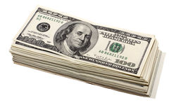 Dikke stapel van honderd-dollar Stock Foto