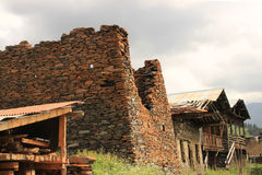 Diklo村庄, Tusheti地区(乔治亚) 免版税库存图片