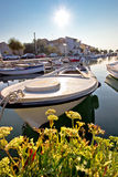 Diklo village waterfront boat in marina Stock Image