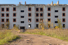 Dilapidated abandoned brick apartment house Royalty Free Stock Photo