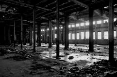 Dilapidated abandoned Detroit warehouse Stock Photo
