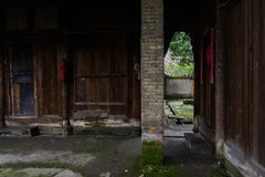 Dilapidated ancient timber structural dwelling building,Chengdu, Royalty Free Stock Photography