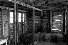 Dilapidated barn in black and white Royalty Free Stock Image