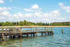 Dilapidated bathing jetty Chiemsee Royalty Free Stock Photos