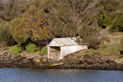 Dilapidated boat shed on the Tasmanian coast. In Australia royalty free stock images