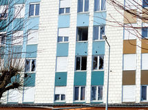 Dilapidated building. Apartment building that are intended for low-income families before destruction Royalty Free Stock Photos