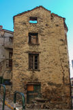 Dilapidated building of Corte, Corse, France. royalty free stock photos