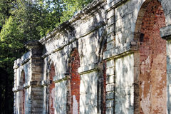 Dilapidated building forestry greenhouse in the palace park buildings date 18th century, Gatchina, Russia. Royalty Free Stock Image