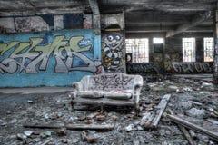Dilapidated building interior stock photo