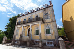 Dilapidated building in old city of Cetinje after war, Montenegr Stock Images