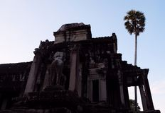 Dilapidated building of the temple complex of Angkor in Cambodia. The medieval architecture of the countries of Southeast Asia.  stock images