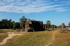 Dilapidated building of the temple complex of Angkor in Cambodia. The medieval architecture of the countries of Southeast Asia.  royalty free stock photos