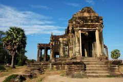 Dilapidated building of the temple complex of Angkor in Cambodia. The medieval architecture of the countries of Southeast Asia.  stock photo
