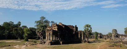 Dilapidated building of the temple complex of Angkor in Cambodia. The medieval architecture of the countries of Southeast Asia.  stock image