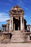 Dilapidated building of the temple complex of Angkor in Cambodia. The medieval architecture of the countries of Southeast Asia.  stock photos