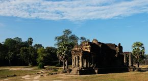 Dilapidated building of the temple complex of Angkor in Cambodia. The medieval architecture of the countries of Southeast Asia.  royalty free stock images
