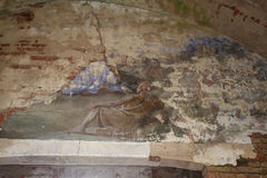 Dilapidated church painting. Old, dilapidated church painting in abandoned church Royalty Free Stock Image