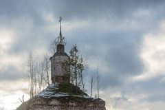 The dilapidated dome of old Orthodox Church. Dilapidated dome of old Orthodox Church against the cloudy sky Royalty Free Stock Photos