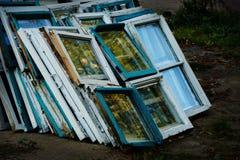 Dilapidated dump on Windows Stock Image