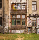 Dilapidated edifice in Art Nouveau style painted with graffitti Royalty Free Stock Images
