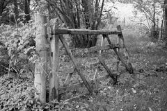 Dilapidated Farm Gate monochrome Stock Photo