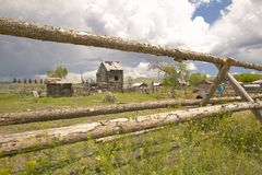 Dilapidated farm structures in Lima Montana Stock Photo