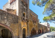 Dilapidated hospital. Lost Place, Eleousa, Rhodes Stock Photos